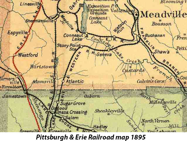 Pittsburgh & Erie Railroad map 1895